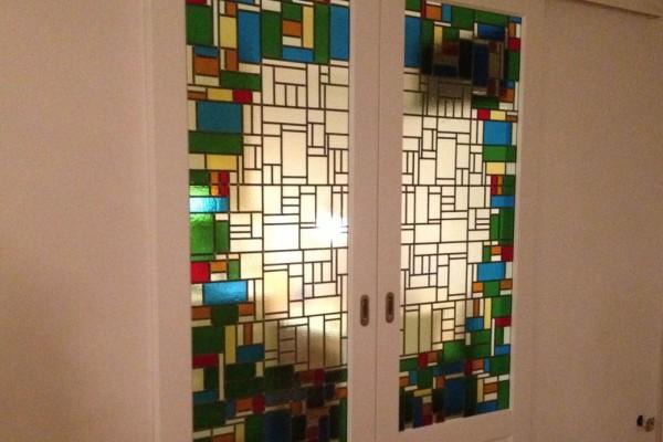 Glas in lood voor schuifdeuren