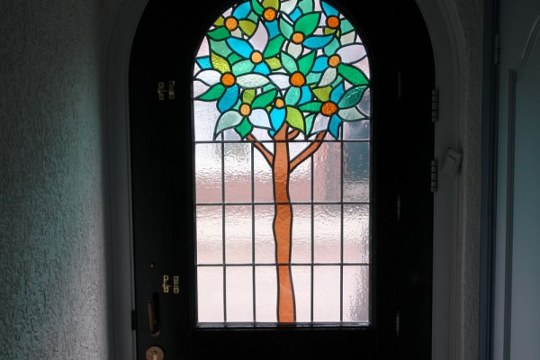 Glas in lood in voordeur